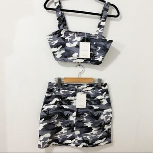 NWT Camo Crop Top & Skirt Matching Set